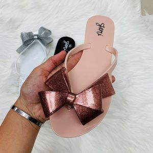 Shoes - Pink glitter jelly bow sandal